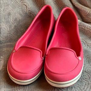 Crocs slip on flat boat shoes loafers slides red 6